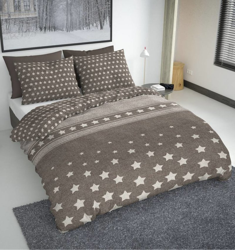 Nightlife Fresh Dekbedovertrek Herring Stars Dark Taupe
