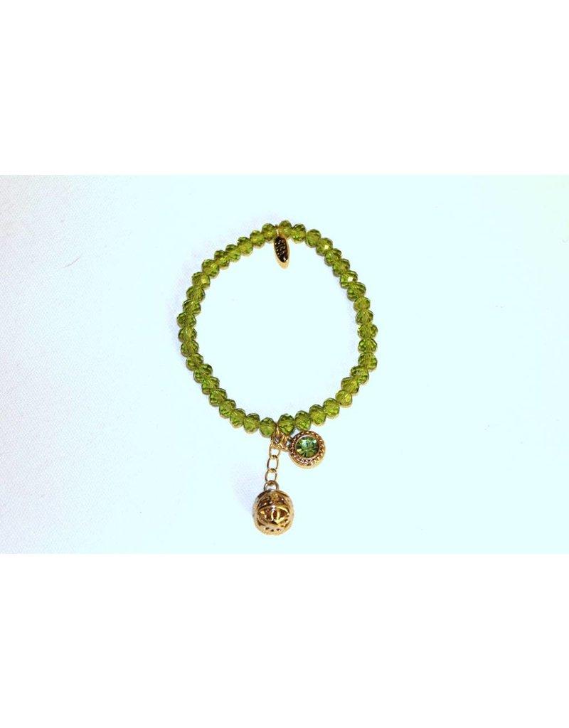 Biba Armband met gouden bedel groen