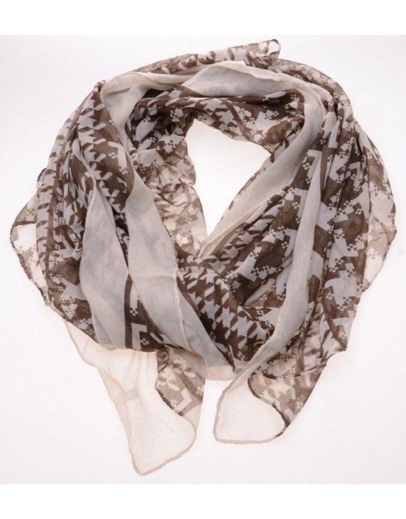 Sjaal met bruin witte print