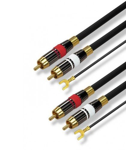 High Quality Phonocable 2x RCA + groundwire (5m) - green-vinyl.com