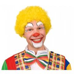 Pruik Clown Krul geel