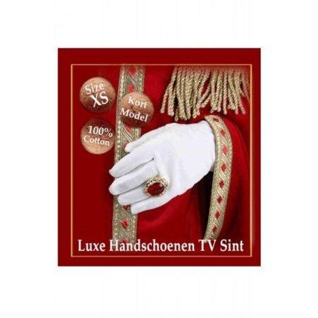 Witte Handschoenen Luxe TV Sint