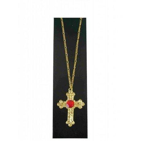 Sint kruis metaal goud met rode steen