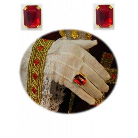 Sint ring rechthoekige rode steen luxe
