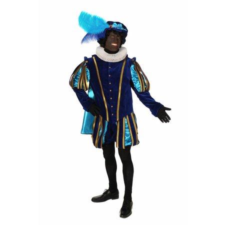 Piet fluweel met cape Malaga Blauw / Babyblauw