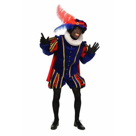 Piet fluweel met cape Malaga Blauw / Rood