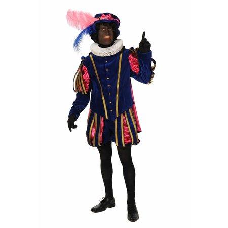 """Piet fluweel met cape """"Malaga"""" Blauw / Pink"""