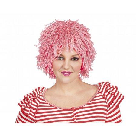 Roze clownspruik dons