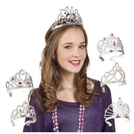 Zilverkleurig prinsessen kroontje