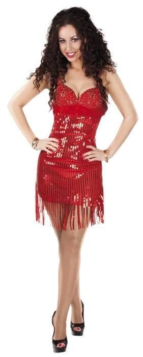 Rood glitter jurkje carnaval
