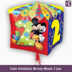 Cube folieballon Mickey Mouse 2 jaar