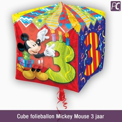 Cube folieballon Mickey Mouse 3 jaar