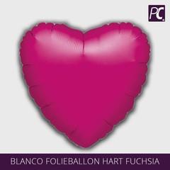 Blanco folieballon hart fuchsia