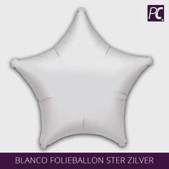 Blanco folieballon ster zilver