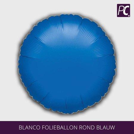 Blanco folieballon rond blauw
