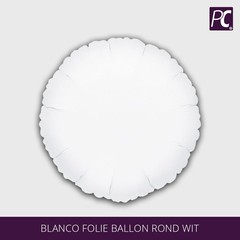 Blanco folie ballon rond wit