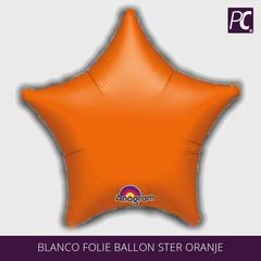 Blanco folie ballon ster oranje