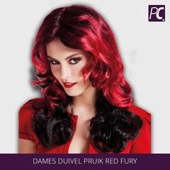 Dames duivel pruik Red fury