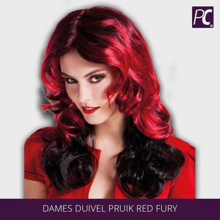 Dames duivel pruik Red fury