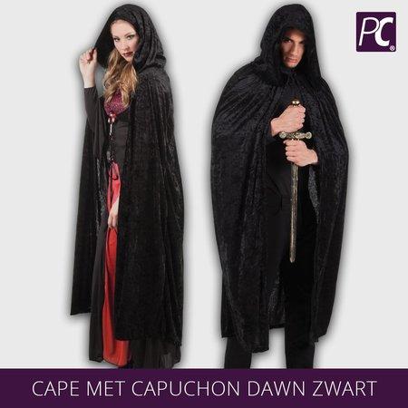 Cape met capuchon Dawn Zwart