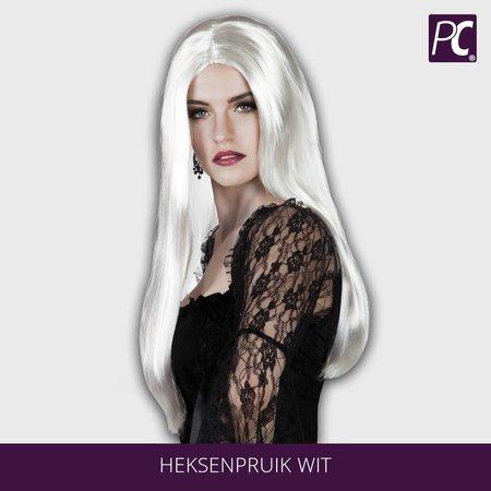 Heksen pruik Wit lang haar