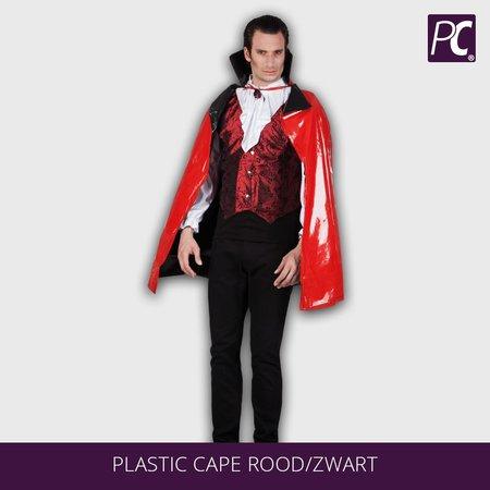 Dracula Plastic cape rood/zwart omkeerbaar (114 cm)
