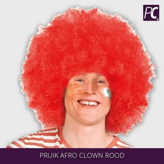 Pruik Afro Clown Rood
