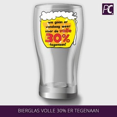 Bierglas volle 30% ertegenaan