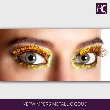 Nepwimpers metallic goud