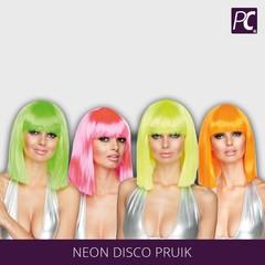 Neon disco pruik