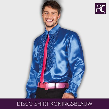 Ruffle disco shirt koningsblauw