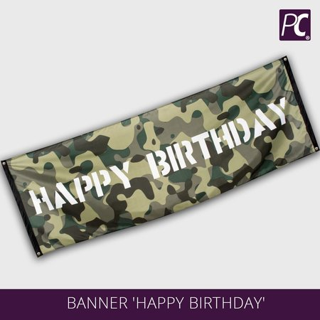 Banner 'Happy Birthday' - serie Camouflage