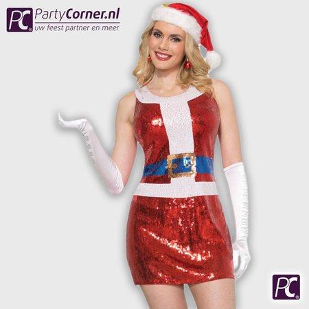Kerstvrouw pailletten jurk