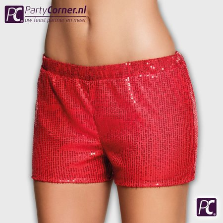 Glitter shorts rood