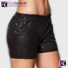 Zwarte glitter short