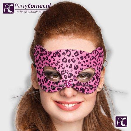 Luipaard masker roze