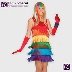 Regenboog flapper jurk