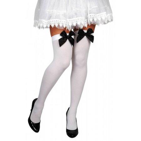 Nylonkousen Michelle wit/zwart strik