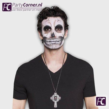 Halloween doodskop kruis ketting