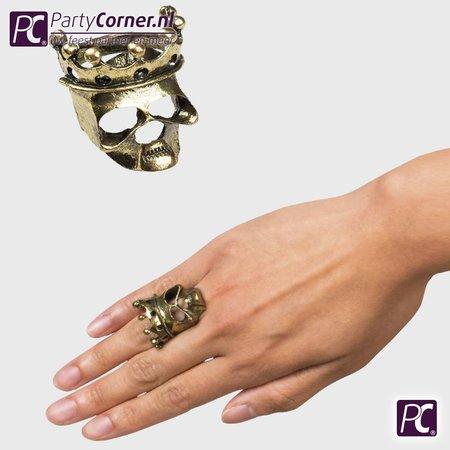 Doodskop ring met kroon