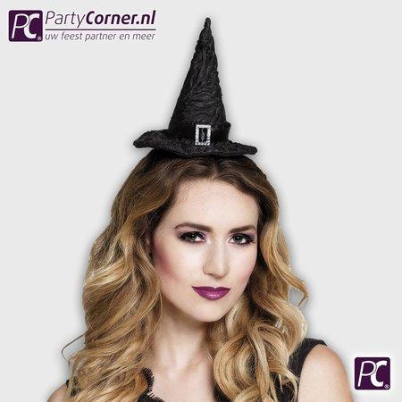 Zwarte tiara heksenhoed kopen