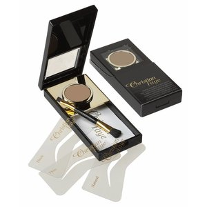 CHRISTIAN FAYE Eyebrow Powder, complete with stencils and brush - Dark Brown