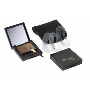 CHRISTIAN FAYE Augenbrauenpuder DUO Kit, komplett mit Schablonen und Pinsel - Medium Brown