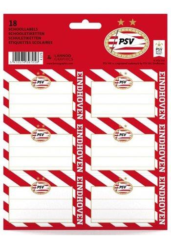 Etiketten psv rood/wit blow: 18 stuks (397058NL)