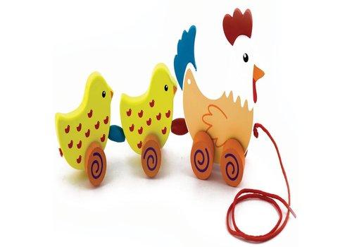 Trekdier New Classic Toys: kip met kuikens 20x14 cm (50078)