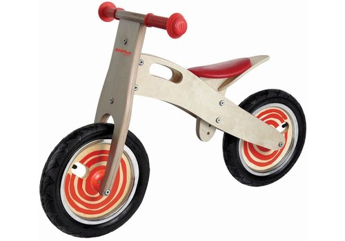 Loopfiets naturel/rood Simply for Kids 80x35x55 cm