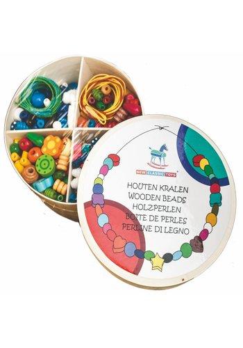 Houten kralen in box New Classic Toys 8x14x24 cm (10571)