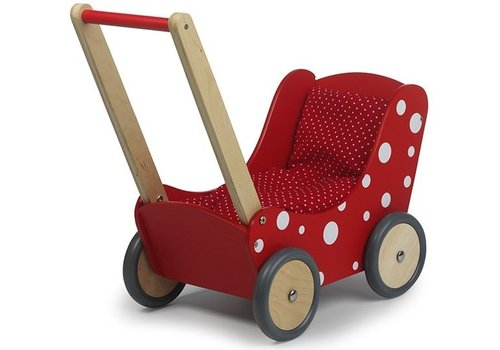 Poppenwagen rood stip Simply for Kids 60x32x55 cm