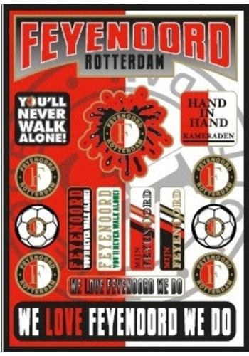Feyenoord Stickervel feyenoord rood/wit: 30x21 cm
