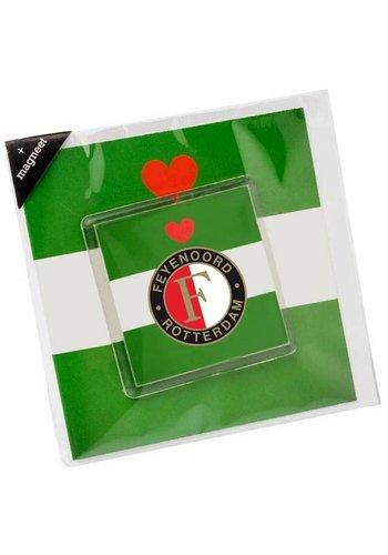 Feyenoord Wenskaart feyenoord met magneet: groen/wit/groen